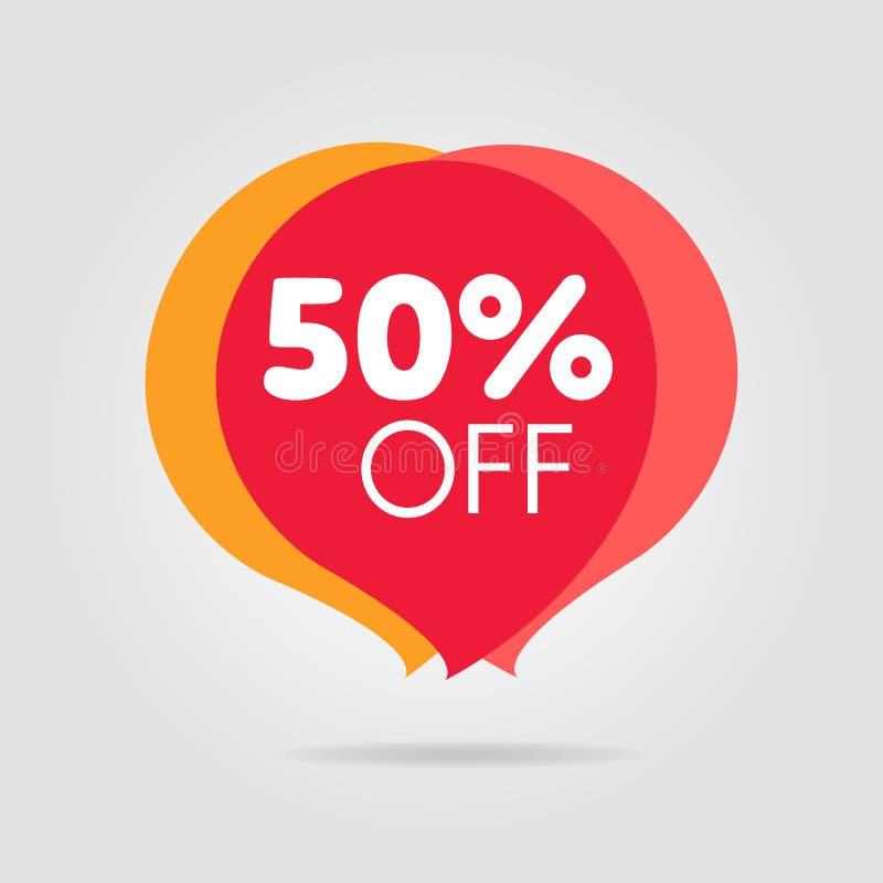 Уцените стикер цены предложения красный, символ для рекламной кампании в рознице бесплатная иллюстрация