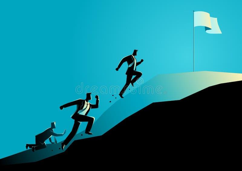 Участвовать в гонке бизнесменов гористый завладеть флаг бесплатная иллюстрация