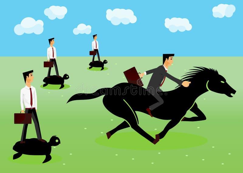 Участвовать в гонке - бизнесмены ехать лошадь бесплатная иллюстрация
