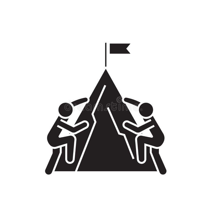 Участвующ в гонке альпинисты чернят значок концепции вектора Участвовать в гонке иллюстрация альпинистов плоская, знак иллюстрация штока