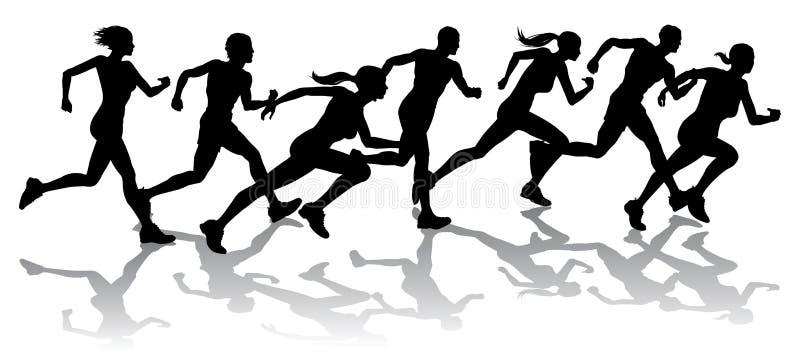 участвуя в гонке бегунки бесплатная иллюстрация