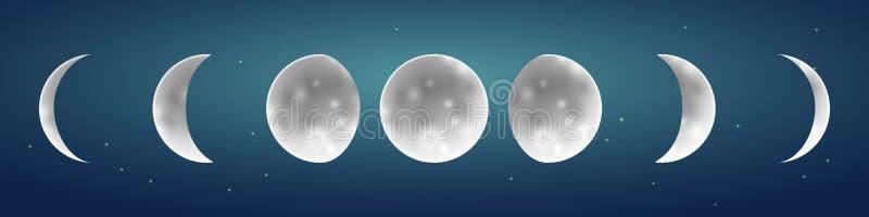 Участки луны в звездной иллюстрации вектора неба иллюстрация вектора