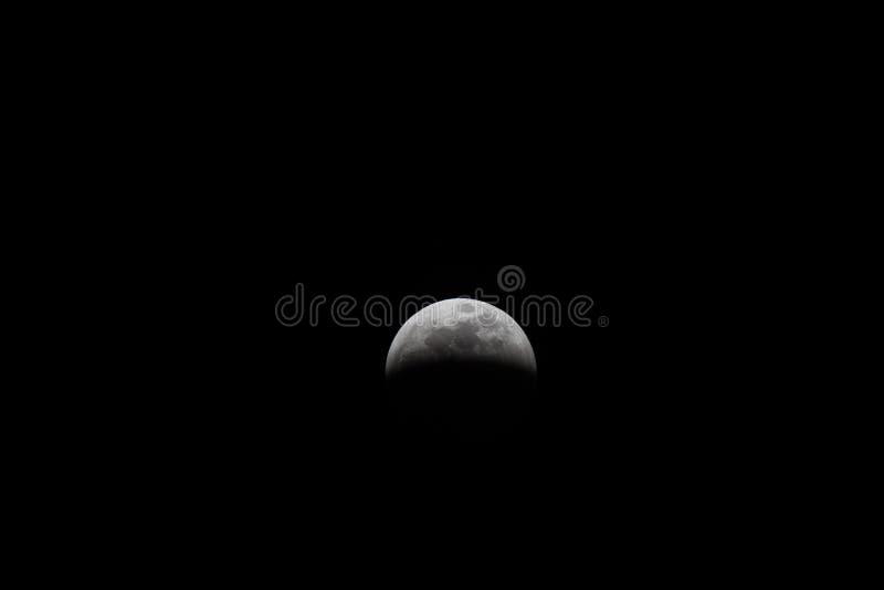 Участки луны от полного лунного затмения 2019 стоковая фотография