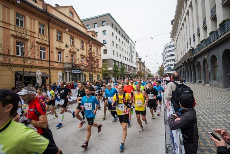 Участники в двадцатом марафоне Любляны стоковые изображения rf