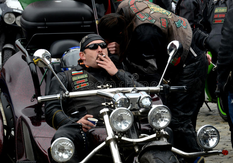 Участники в шествии мотоцикла 28-ого марта 2015, София, Болгария стоковые фото