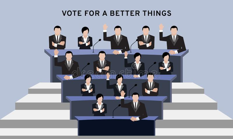 Участники или утвержденные люди в руке костюма вверх по надземной и перекрестной руке для голосования избрания и руки в ro конфер иллюстрация вектора