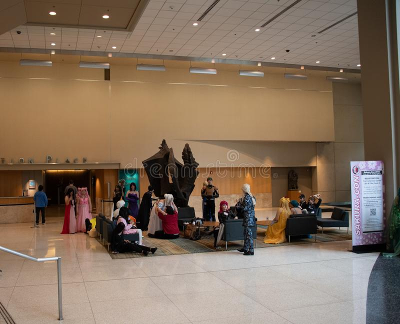 Участники конвенции на Сакур-жулике Сиэтл 2019 стоковые фото