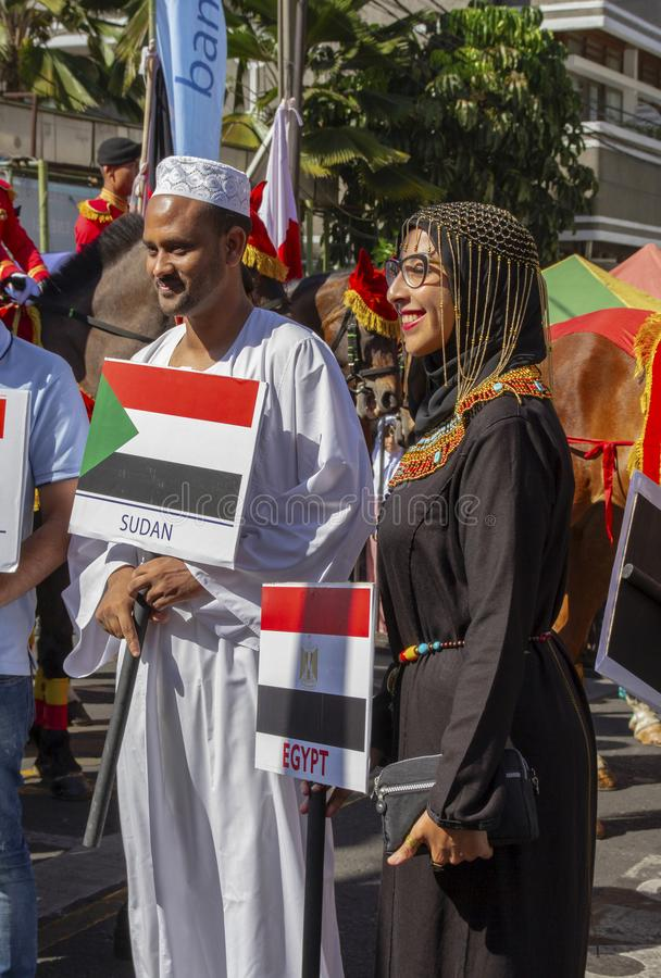 Участники от много различных стран в фестивале 2019 Азии Африки стоковое изображение rf