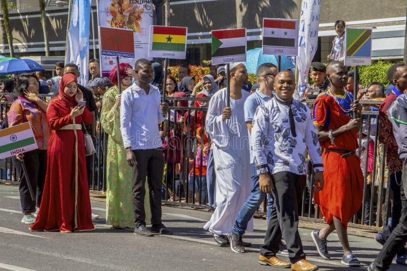 Участники от много различных стран в фестивале 2019 Азии Африки стоковое фото