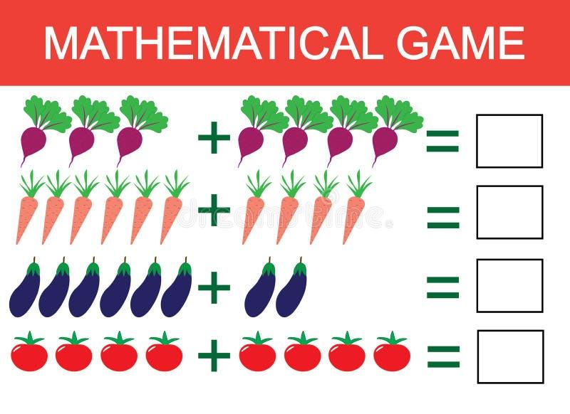 Учащ добавление примером овощей для детей, подсчитывая деятельность Игра математики воспитательная для детей Вектор Illustratio бесплатная иллюстрация