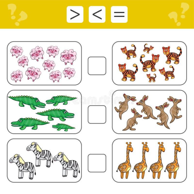 Учащ математику, номера - выберите больше, более менее или равный Задачи для детей иллюстрация штока