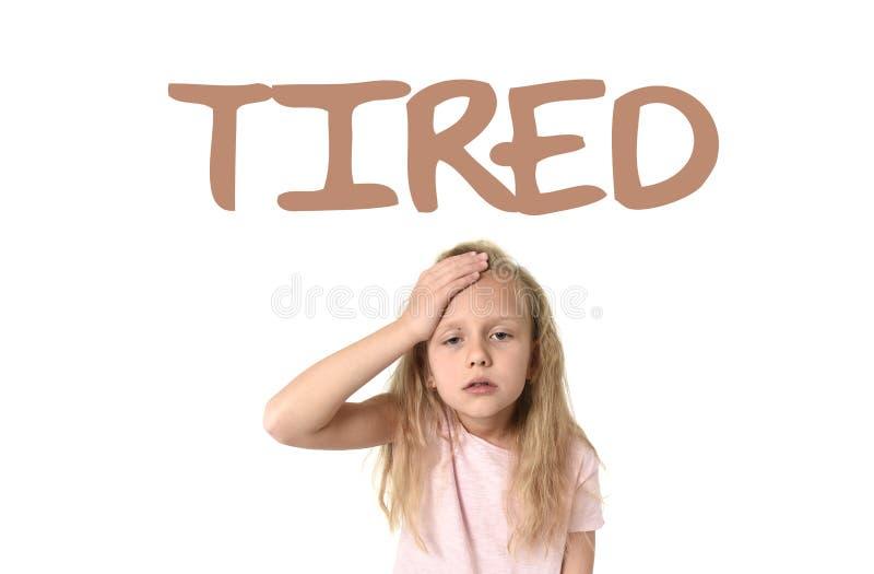 Учащ терминологию английского языка обучите карточку при утомлянное слово и школьница стоковая фотография rf