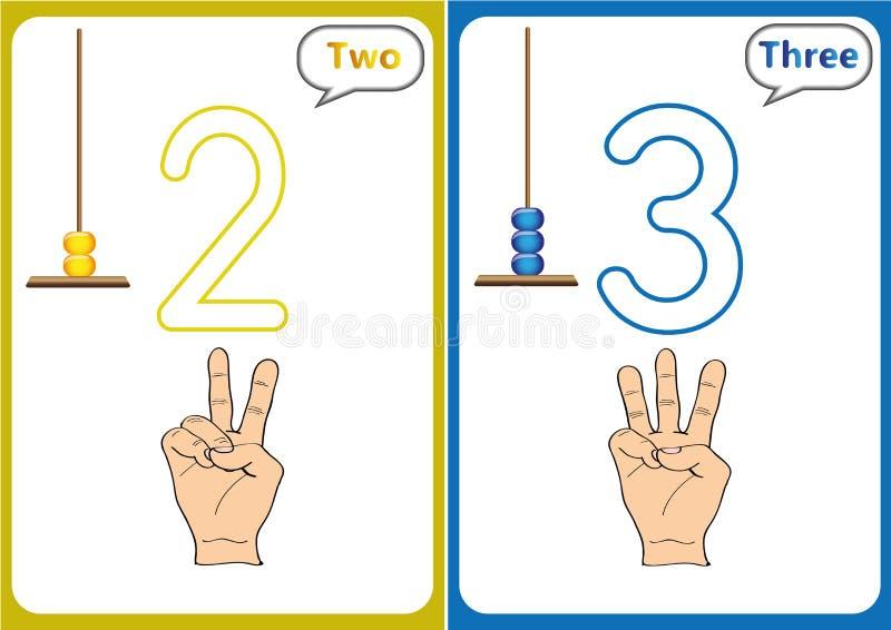 учащ 0-10, флэш-карты, воспитательные деятельности при preschool иллюстрация штока