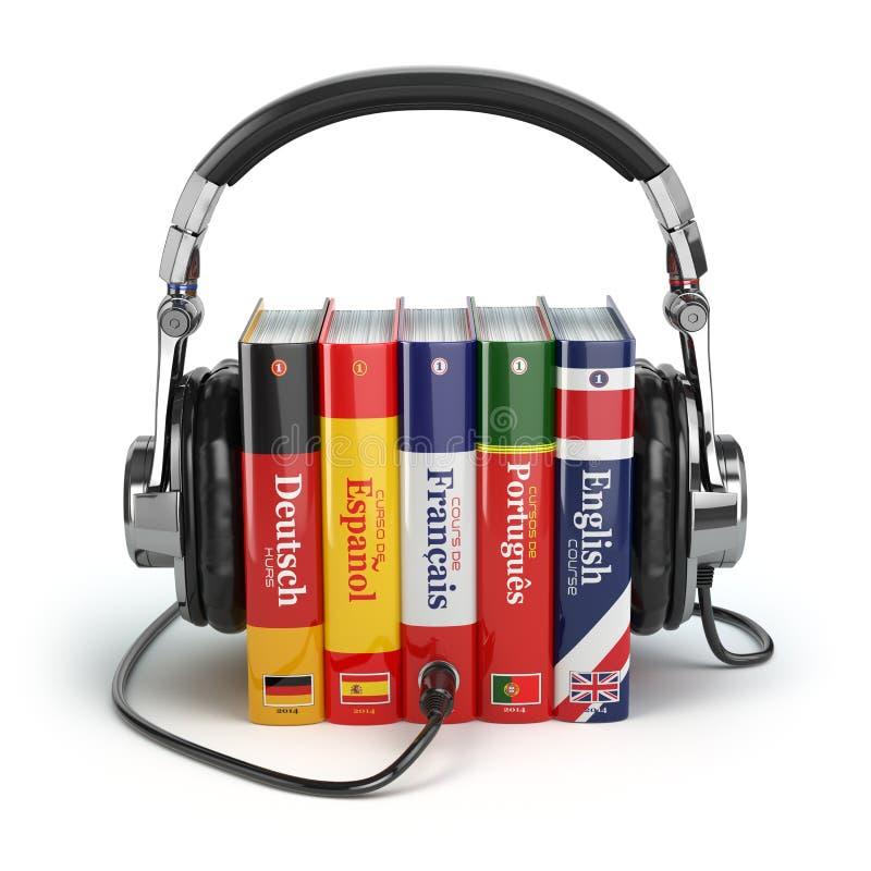 Учащ языки онлайн Концепция Audiobooks иллюстрация штока