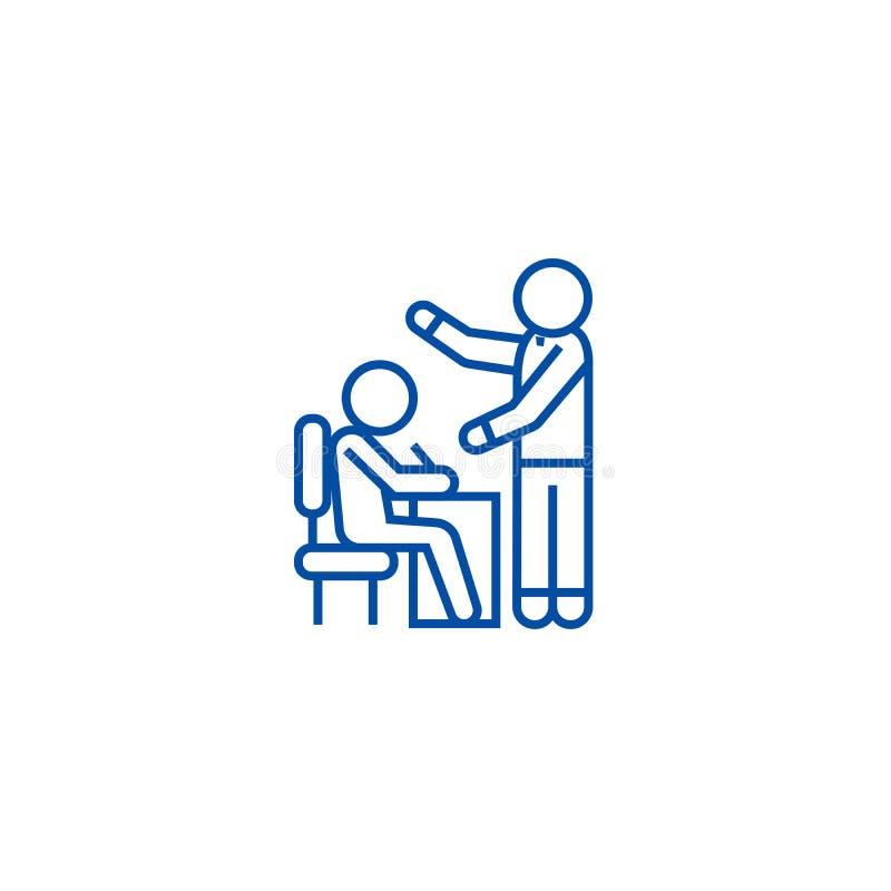 Уча линия концепция процесса, студента и учителя значка Уча символ вектора процесса, студента и учителя плоский бесплатная иллюстрация