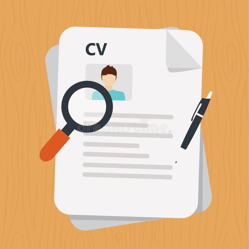 учебная программа - значок документа vitae Управление человеческих ресурсов или персонал анализировать возобновляют иллюстрация вектора