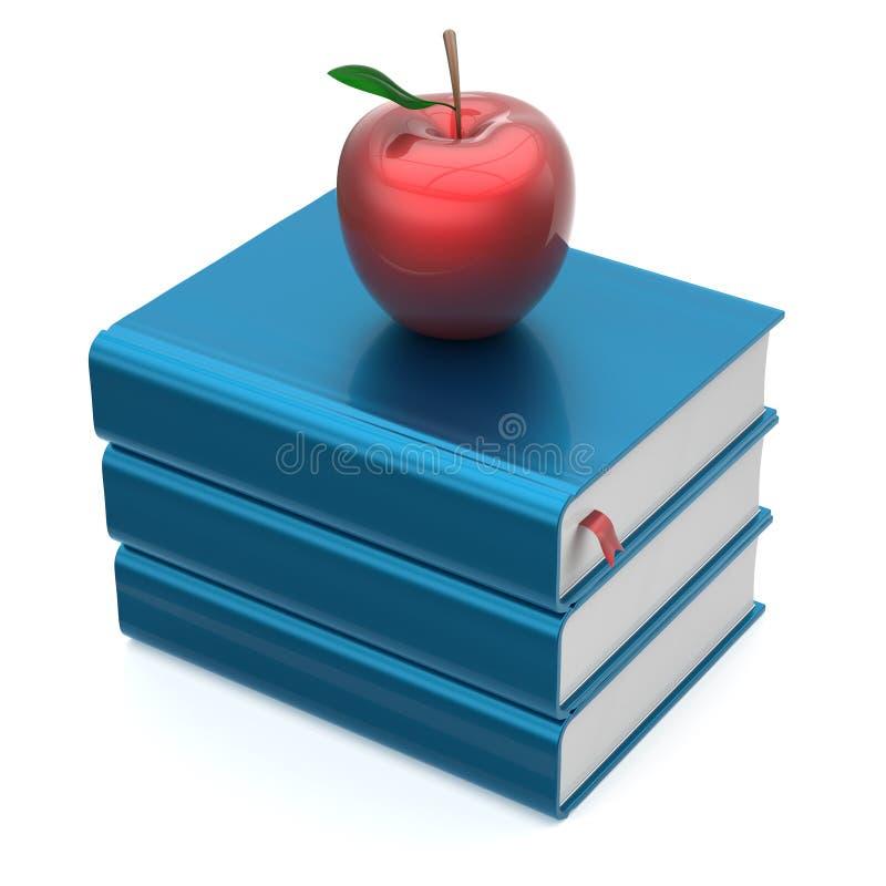 Учебники голубых книг штабелируют красный значок премудрости образования яблока бесплатная иллюстрация
