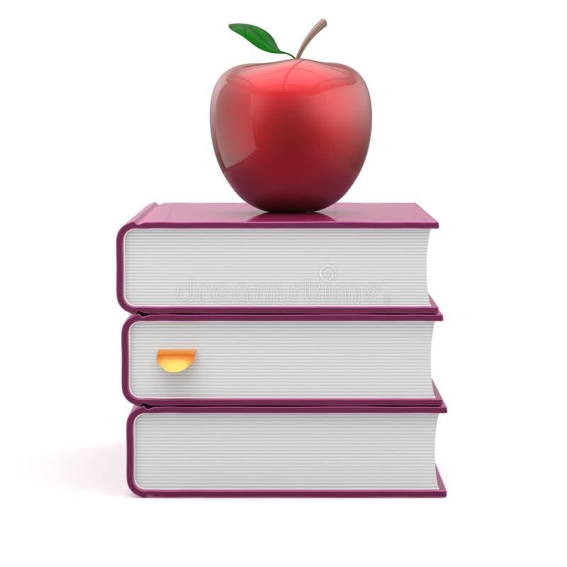 Учебники крышек пробела книг штабелируют пурпурное и красное яблоко иллюстрация штока