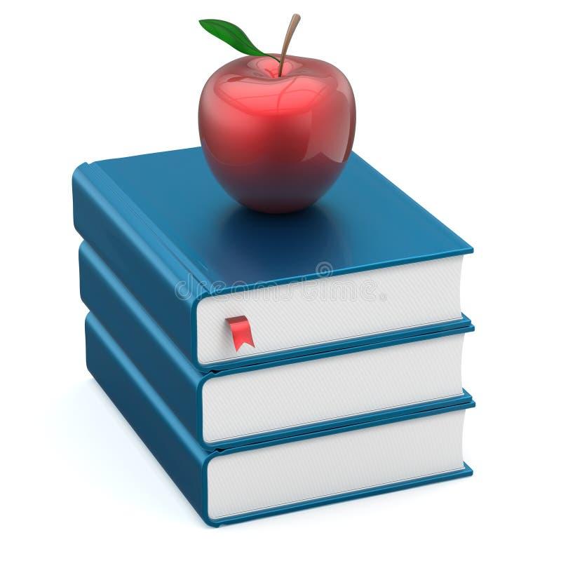 Учебники прикрывают стог голубой книги и красное образование яблока бесплатная иллюстрация