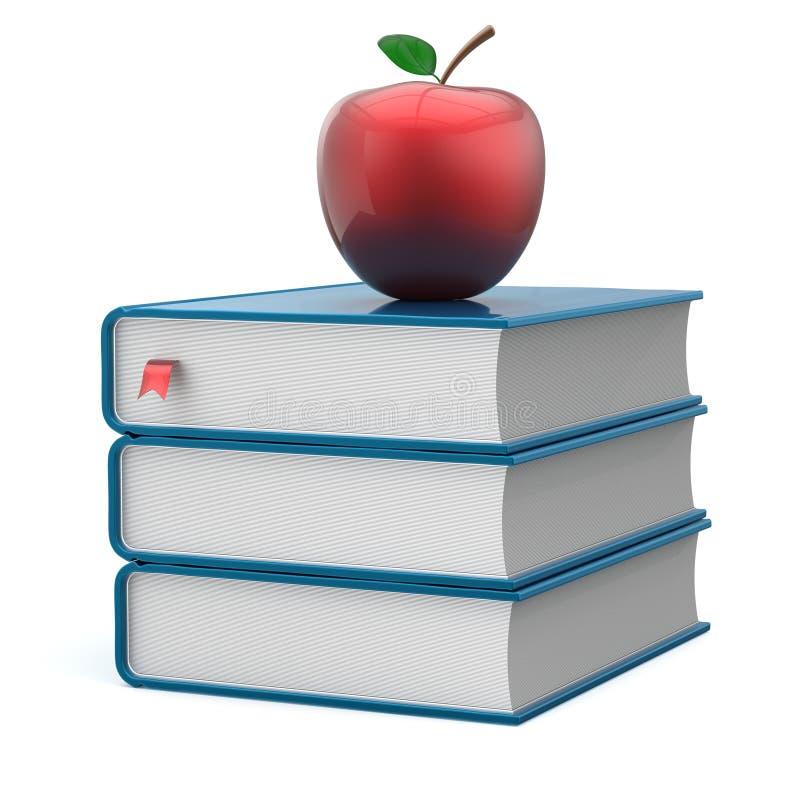 Учебники стога книги голубые и красный значок образования яблока бесплатная иллюстрация
