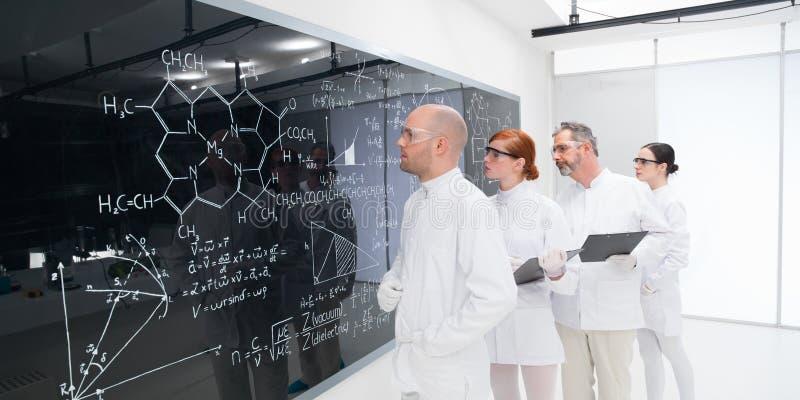 Ученые анализируя формулы в лаборатории стоковая фотография