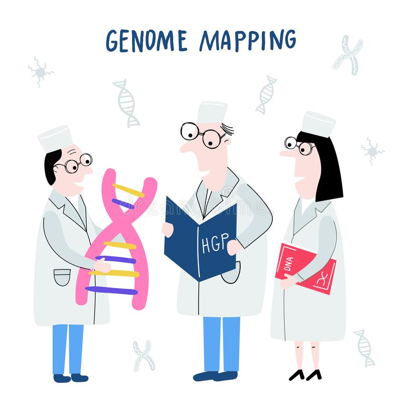 Ученые исследуя структуру ДНК Геном руки вычерченный sequencing концепция сделал в векторе Проект генома человека бесплатная иллюстрация