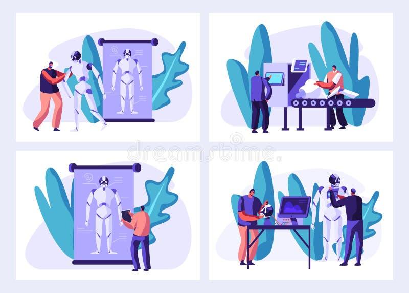 Ученые создают киборги в наборе лаборатории Робот создавая процесс этапов Делать оборудование и программное обеспечение, инженер  бесплатная иллюстрация
