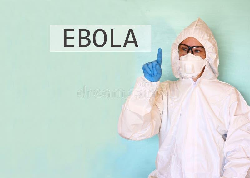 Ученый лаборатории в ebola слова чертежа костюма безопасности стоковые изображения rf