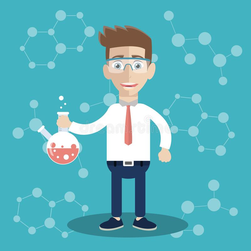 Ученый в исследовательской лабаратории образования науки Плоский вектор иллюстрация штока