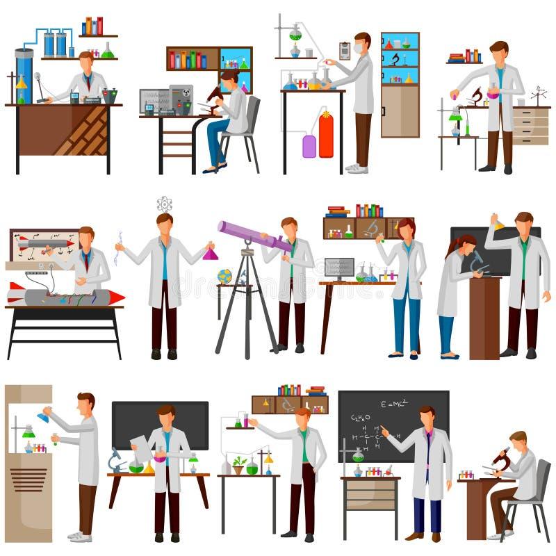 Ученый делая исследование и эксперимент в научной лаборатории бесплатная иллюстрация
