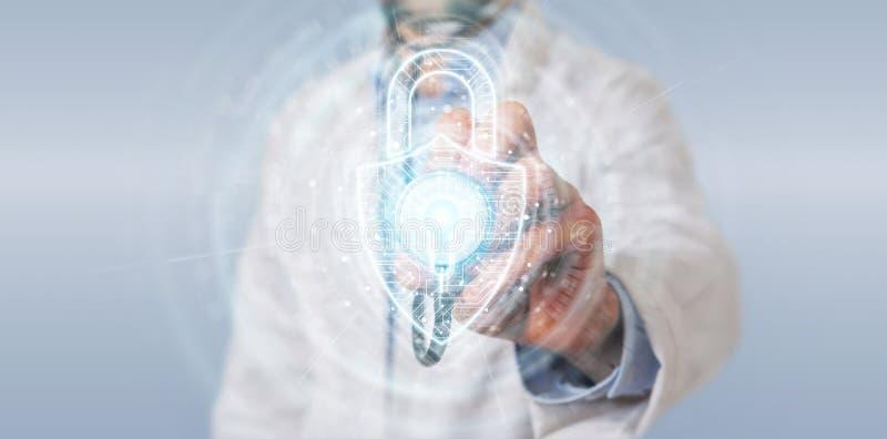 Ученый используя цифровой интерфейс безопасностью padlock для защиты перевода данных 3D бесплатная иллюстрация