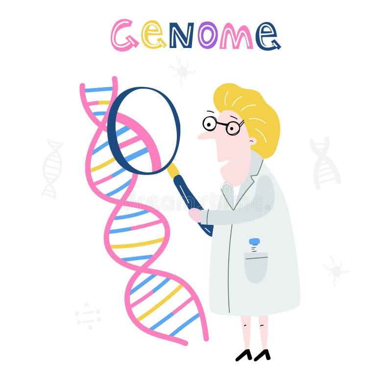 Ученый исследуя структуру дна Геном руки вычерченный sequencing концепция сделал в векторе Проект генома человека иллюстрация вектора