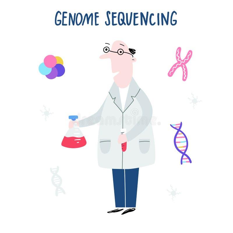 Ученый исследуя структуру дна Геном руки вычерченный sequencing концепция сделал в векторе Проект генома человека иллюстрация штока
