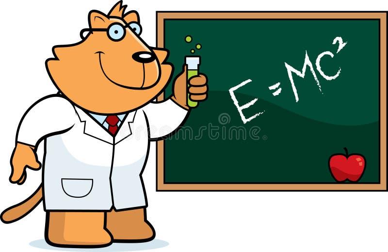 Ученый кота шаржа иллюстрация вектора