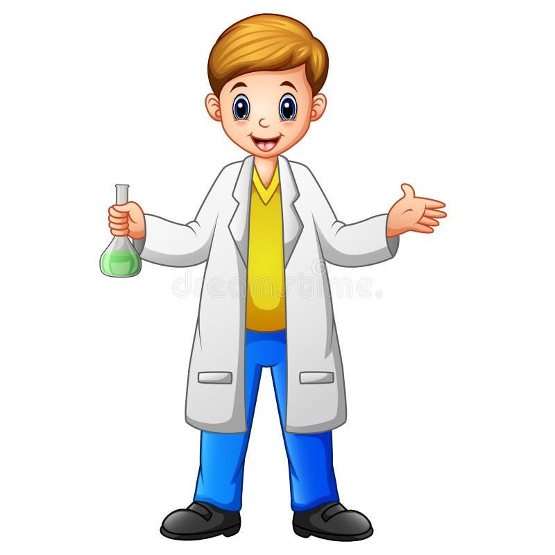 Ученый мальчика мультфильма держа пробирку на белой предпосылке иллюстрация вектора