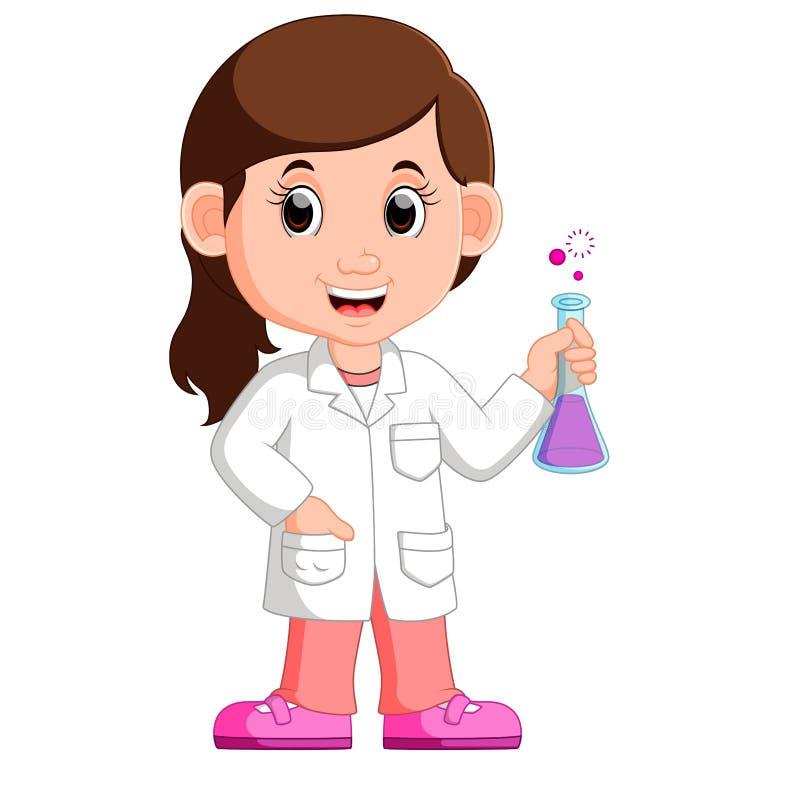 Ученый маленькой девочки иллюстрация вектора