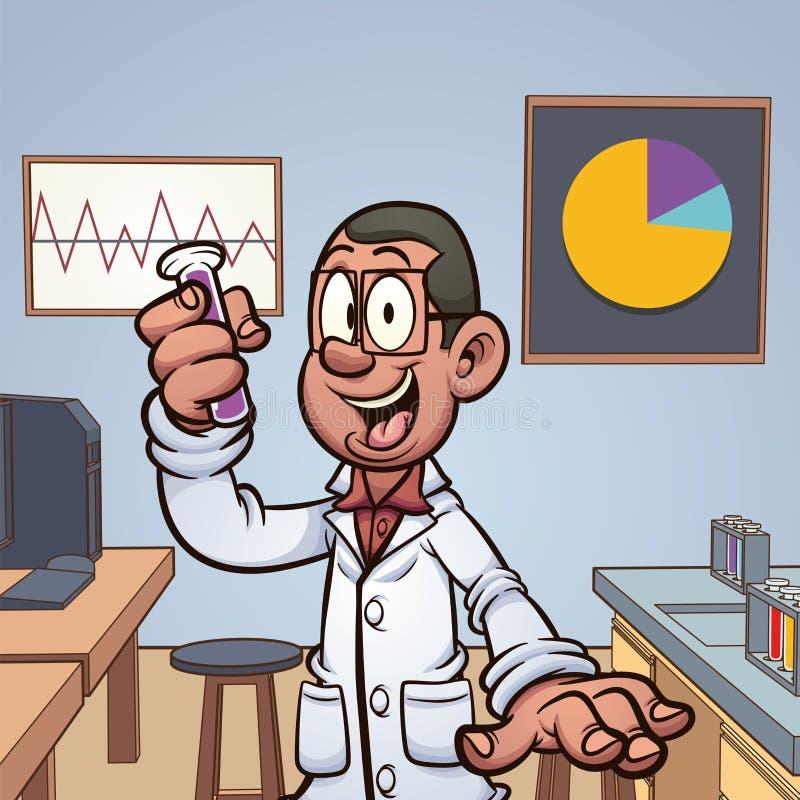 Ученый мультфильма в лаборатории держа пробирку бесплатная иллюстрация