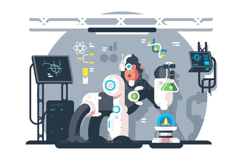 Ученый обезьяны робота делает эксперимент по лаборатории бесплатная иллюстрация