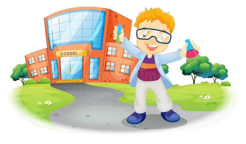 Ученый перед школьным зданием иллюстрация штока