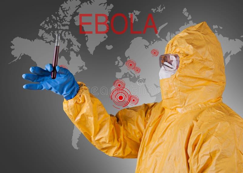 Ученый с защитным костюмом, концепцией ebola стоковая фотография