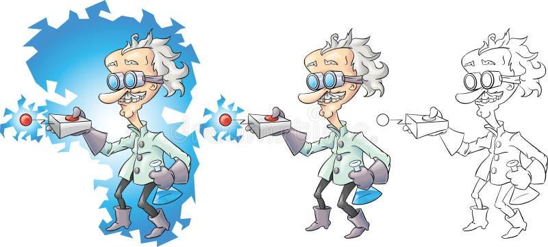 ученый шаржа сумашедший иллюстрация вектора