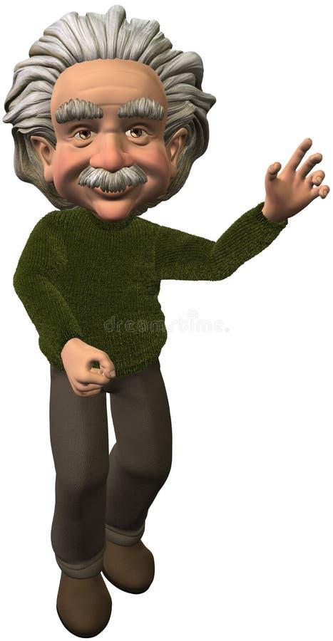 Ученый Эйнштейна указывая изолированная иллюстрация бесплатная иллюстрация