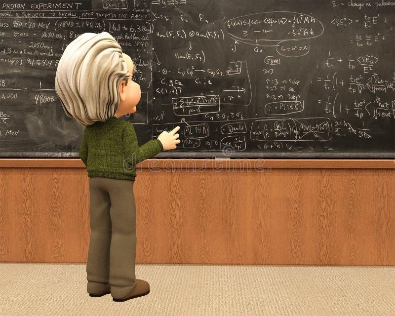 Ученый Эйнштейна учит математике, школе иллюстрация вектора