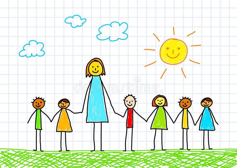 учитель детей иллюстрация штока