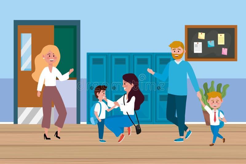 Учитель женщины со студентами и матерью с отцом иллюстрация вектора