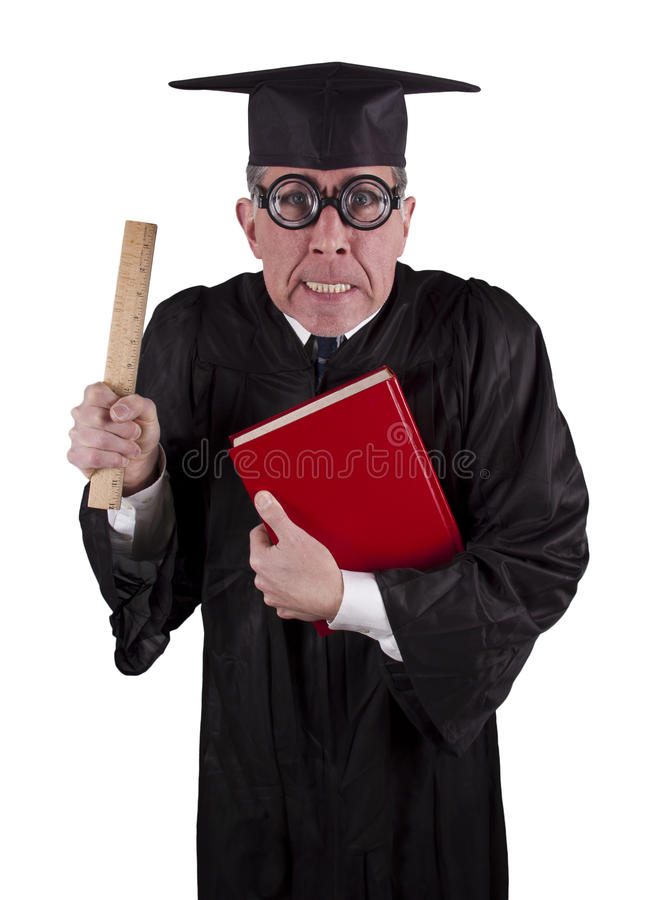 учитель профессора середины юмористики сердитого коллежа смешной стоковая фотография rf