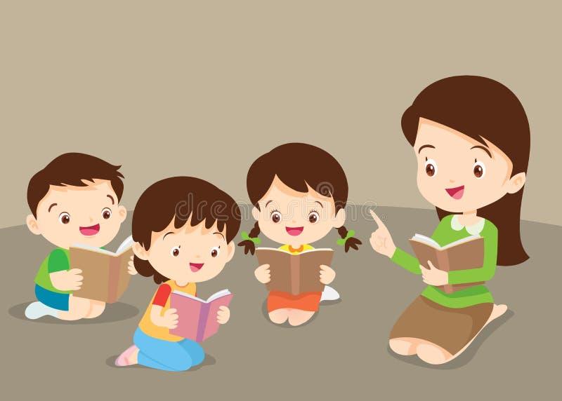 Учитель уча милым книгам чтения детей иллюстрация штока