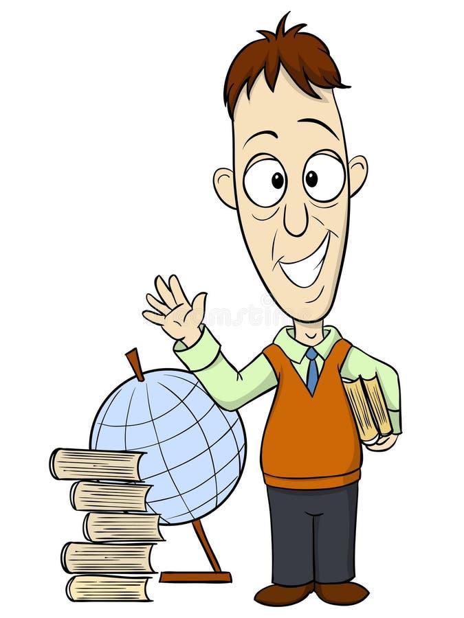 Учитель шаржа с книгой бесплатная иллюстрация
