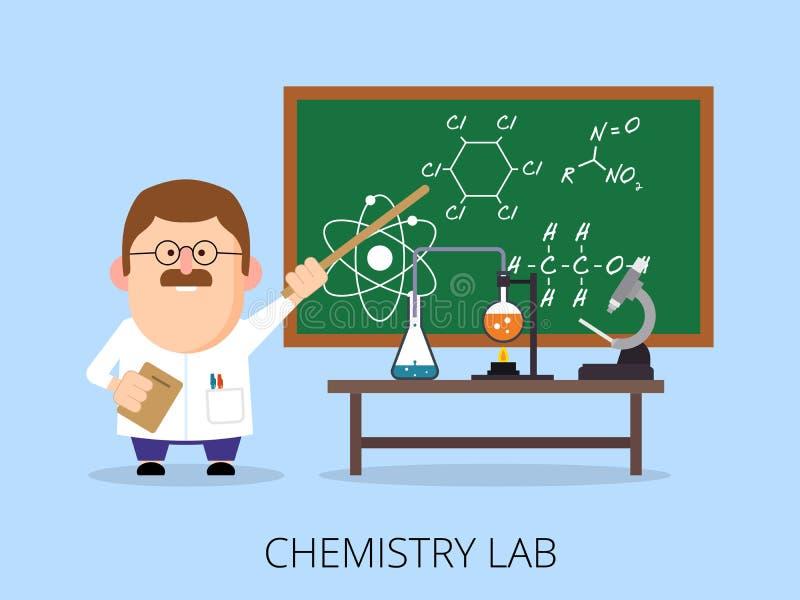 Учитель в химической лаборатории, классе экспериментирует, школьное правление с формулами иллюстрация вектора