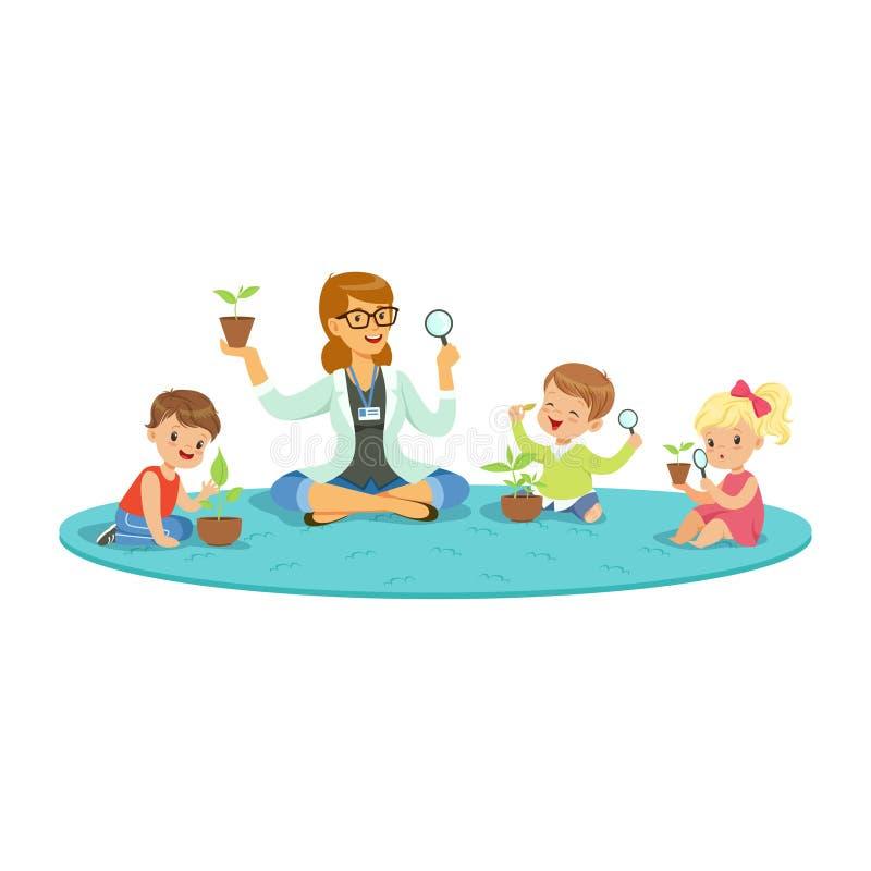 Учитель и дети сидя на поле уча о заводах во время урока ботаники, дети смотря через увеличитель иллюстрация вектора